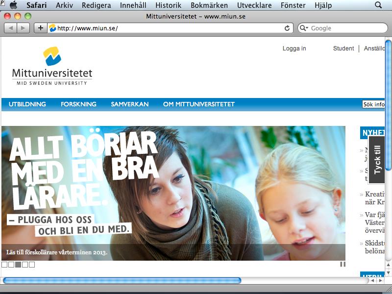 webbplats på liten skärm